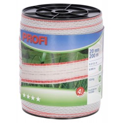 Páska PROFI pro el. ohradník, 20 mm x 200 m, 6x TriCOND 0,3 mm, bílo-červená