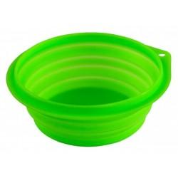 Miska silikonová pro psy,kočky, skládací, 1000 ml, reflexní zelená