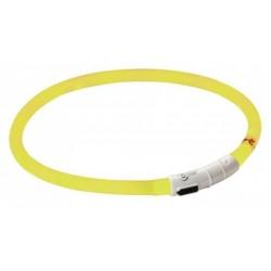 Obojek pro psy silikonový svítící, LED, nabíjecí, žlutý, 55 cm