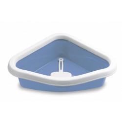 Toaleta pro kočky rohová - Sprint Corner, pastelově modrá