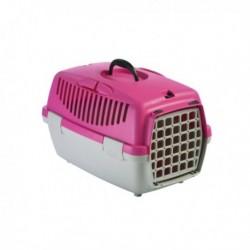 Přepravka pro psy a kočky Gulliver 1, růžová/šedá, 48x32x31cm, plastová dvířka