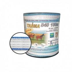 Páska Star pro elektrický ohradník, 40 mm x 100 m, bílo-modrá